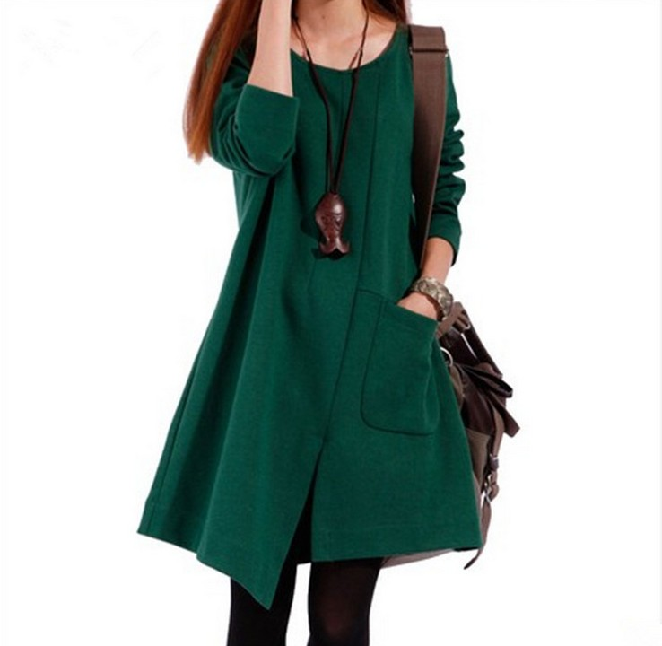 Slit Loose Women Coat Dress Dark Green on Luulla